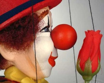 Marionette Clown with Rose from CzechMarionettes traditional handmade collection (made in Czech Republic)