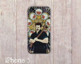 Ron Swanson iPhone Case, parks and rec iphone cover, iPhone 4 case, iPhone 4s case, iPhone 5 case, hard case, paper art print