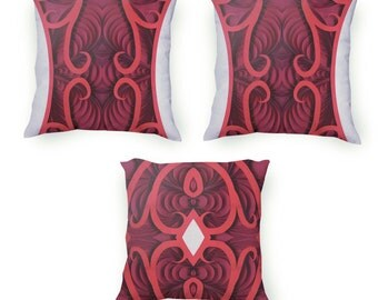 Red Decorative Throw Pillow set, 3 pillow covers with red hand drawn flourishes & white accents, Velveteen Pillow Cover Only