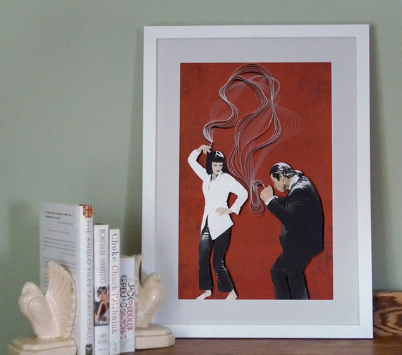Pulp Fiction movie poster, Quentin Tarantino film poster, quilling and etching illustration, Paper art print, print, Ready to ship