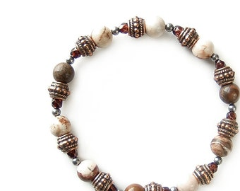 Brown Stretch Bracelet of Cappuccino Jasper Gemstones and Pewter