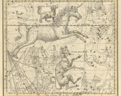 Old map of the galaxy. Argo Navis, Canis Major, Canis Minor, galaxy #26, 1820, astrologer, constellation galaxy