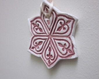 Large Wine Red Snowflake Ceramic Hanging Ornament