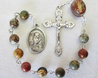 Handmade Catholic Tenner Single Decade Rosary, Archangel Gabriel, Red Creek Jasper Gemstone Beads