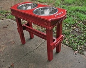 Colonial Red Elevated Pet Feeder For Large Dogs -  Cottage Chic Two 2 Quart Bowls, Distressed, Wooden, Made To Order