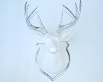 Faux Taxidermy White and chrome Faux Deer Head- Wall Mount -Matching Shield Mount DS0113