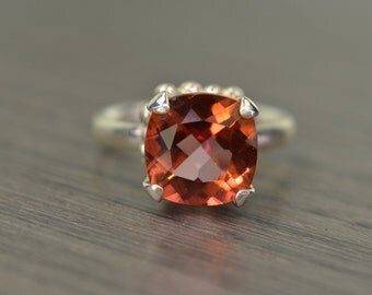 Cinnamon Coral Topaz Ring, size 9.5, 5ct square cushion prong solitaire - Darcy Ring
