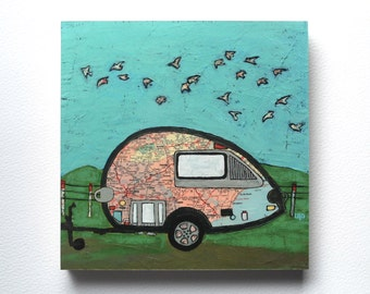 Southern Teardrop mounted print - Teardrop trailer-rv-camper southeast road trip art mounted to wood