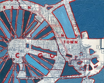 Bike Grant Park Chicago print 13x13-- bicycle art featuring Chicago, Illinois  bike art