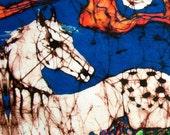 "Appaloosas in Flower Field - batik fabric (8"" x 10"")  -  Custom printed from original batik  - applique quilt panel"