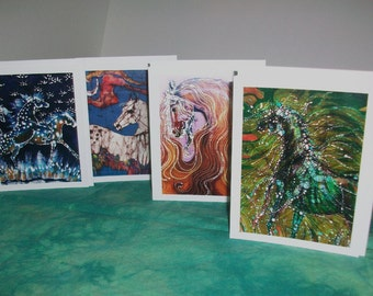 Cards - Horses  -   Horses with Flowing manes and appaloosas -  4 blank art cards