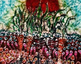 Growing Sun Energy on Garden -- Summer heat - farm -  original batik painting