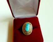 RESERVED for L. Native American Navajo Turquoise Silver Ring