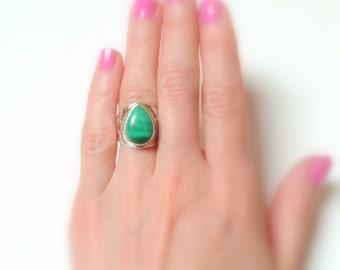 SALE MALACHITE .925 Silver Ring Size 5.5