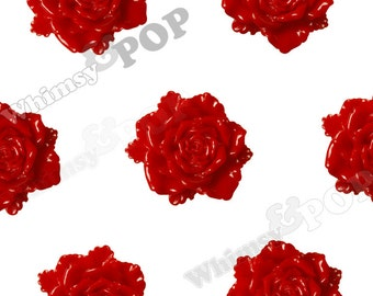 6 - Large Red Bloomin' Rose Cabochons, Rose Shaped, 24mm (R6-029)