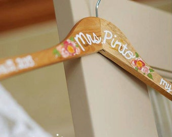 Custom Painted Bride Hanger - Bridal Shower Gift - Made To Order