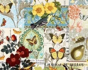 Pillow  Cover BUTTERFLIES & BIRDS 18 x 18  Cotton Print Pillow Cover