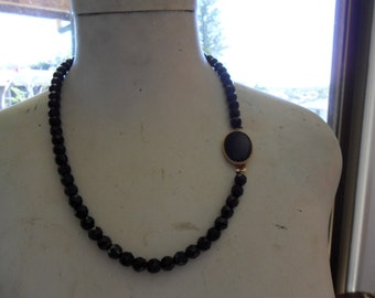 Authentic Vintage Black Crystal/Glass Necklace and Earring Set with Beautiful Black Clasp on Necklace