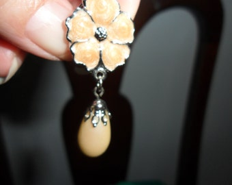 Authentic Vintage Faux Pearl Flower Silver Earrings