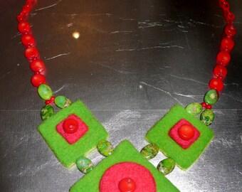 Needle Felted necklace art deco style
