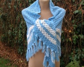 RESERVED Knit Scarf / Knitted Scarf / Scarf Vintage / Acrylic / Doped Wool / Triangular Scarf / Big / Large / Handmade