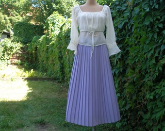 Pleated Skirt / Pleated Skirts / Skirt Vintage / Long Pleated Skirt / Long Violet Skirt /Maxi / Pale Violet / Size EUR 42 / 44 X UK14 / 16