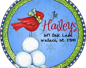 Red Bird Christmas Winter Return Address Labels Return Address Labels Personalized Return Address Round Address Labels Custom Address Labels