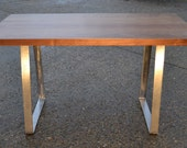 Walnut Dining Table - Solid Steel Trapezium Base