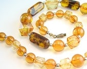 Amber Choker Necklace Natural Plant Encased and Plastic Beads Vintage 1950s Mid Century Retro Jewelry