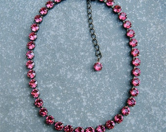 Raspberry Pink Necklace Rhinestone Necklace Swarovski Crystal Raspberry Pink Fuchsia Tennis Necklace Mashugana