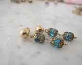 Vintage Rosary Bead Earrings