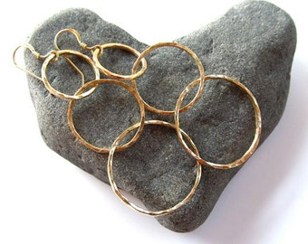 Triple Hoop Earrings, Gold Hammered Hoops, Elegant,  Gift Idea, Handmade Maui, Minimalist, Hawaii Jewelry, Boho Fashion, Textured