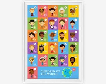 Colorful Alphabet A-Z Children Of The World With Their National Costume Wall Art Poster, Nursery Art, Children Room Decor
