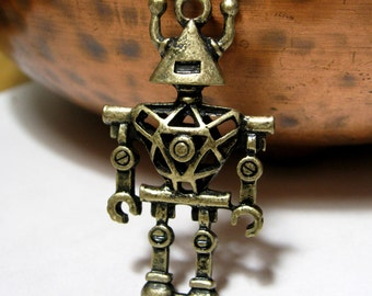 Robot Pendant 45mm Antique Bronze Geek Chick Geekery Sci-fi ONE piece