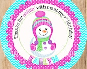 SNOW GIRL party favour tags -  YOU Print