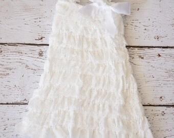 Lace Flower Girl Dress - Baby Dress - white Dress - Girls Dress - white Flower Girl Dress- Ruffle Lace Dress- Christening Dress - Lace Dress