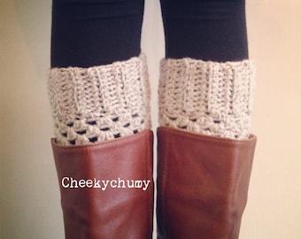 Women's crochet Boot cuffs. Boot toppers. Wool Boot socks. Faux Leg warmers. Colour natural oatmeal. UK seller