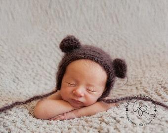 Brown fluffy mohair teddy bear bonnet. Newborn. Great photo photography prop.