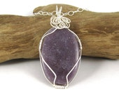 Wire Wrapped Hexagonite Gemstone Necklace Sterling Silver
