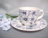 Vintage Ming Tree Japan Demi Cup and Saucer, Double Phoenix Nikko Blue and White China