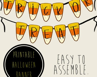 Halloween Trick or Treat Party Banner, Printable PDFs, Instant Download