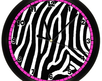 Hot Pink and Black Zebra Animal Print Wall Clock
