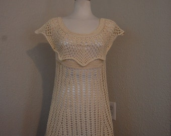 Crochet Dress/Tunic in Ecru Cotton Thread  Size Medium