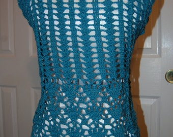 Crochet Cardigan Vest Top in Teal Blue Cotton Size Small/Medium