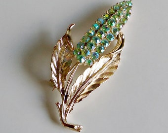 Vintage Floral Green Rhinestone Brooch Pin Mid Century