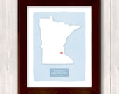 MINNESOTA art print - Personalized Home decor Custom text Wedding gift Bridal shower Housewarming gift  Larger size for wedding guest book