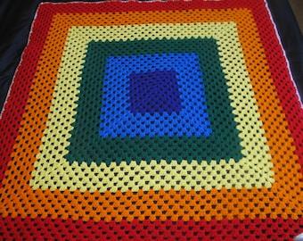 Rainbow Granny Square Blanket, Child Size, Throw, Lapgan, Ready to Ship