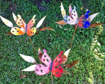 Butterfly Enameled Garden Stake