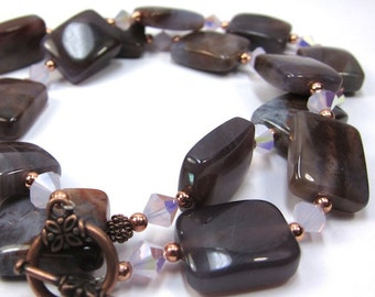 Chocolate Brown Gemstone Copper Necklace Earring Set With Violet Opal Swarovski Crystals