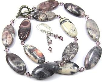 Porcelain Jasper Gemstone Necklace Combo, Antique Pink Swarovski Crystal, Necklace and Earring Set